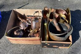 Two boxes of sundry metalware; to include; a quantity of copper kettles.Collection of this lot is