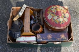 A mixed lot; to include; a pair of scales, footstool, trivet and sundry.Collection of this lot is
