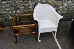 A white Lloyd Loom chair; together with a square bamboo table and three other items.Collection of