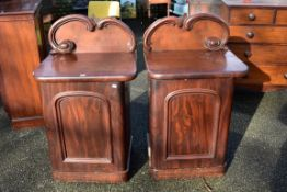 A pair of mahogany side cabinets, 64cm wide x 49.5 deep.Collection of this lot is strictly by