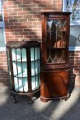 A bowfront display cabinet; together with a reproduction corner cupboard, 180cm high x 66cm wide;