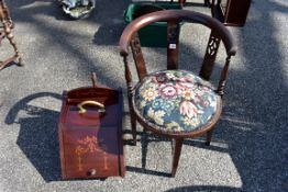 An Edwardian mahogany and inlaid purdonium; together with a mahogany occasional tub chair.Collection