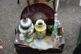 A modern art glass bowl; together with a pair of bottles & stoppers and sundry.Collection of this