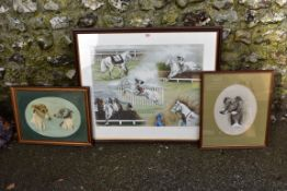 A limited edition print of Desert Orchid by Louise Wood; together with two other original