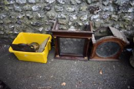 A quantity of clock parts; together with two old longcase clock hoods.Collection of this lot is