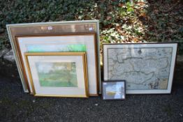 Three paintings signed 'R'; together with a map and one other picture.Collection of this lot is