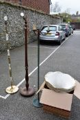 An old oak standard lamp; together with an onyx standard lamp and one other.Collection of this lot