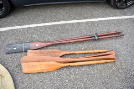 Three pairs of oars.Collection of this lot is strictly by appointment on Saturday 17th April between