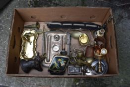 A box of sundry metalware.Collection of this lot is strictly by appointment on Saturday 17th April