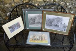 A watercolour of Boxgrove Priory; together with four other pictures of Boxgrove Priory.Collection of