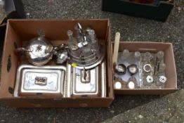 A pair of plated entree dishes, teapot and other plated items.Collection of this lot is strictly