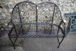 A black painted metal bench, 120cm wide x 90cm deep.Collection of this lot is strictly by