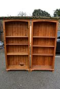 A pair of pine bookcases, 179cm high x 84cm wide x 30cm deep.Collection of this lot is strictly by