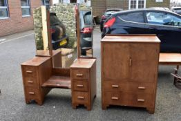 An old walnut dressing table 154cm high x 107cm wide x 50cm deep; together with a matching side