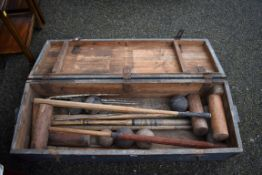 An old croquet set in wooden box.Collection of this lot is strictly by appointment on Saturday