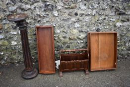An old beech column, oak magazine rack and sundry.Collection of this lot is strictly by