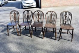 Five old oak dining chairs.Collection of this lot is strictly by appointment on Saturday 17th