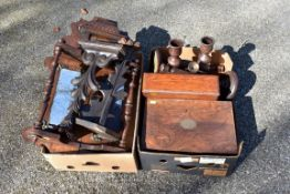Two boxes of mixed wooden items; to include; a sewing box, candlesticks and a mirror.Collection of