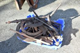 Two old spinning wheels, (a.f.).Collection of this lot is strictly by appointment on Saturday 17th
