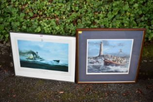 A print by Robert Taylor titled 'The Last Moments Of HMS Hood', pencil signed by Ted Briggs;