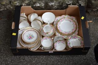 A Chinese twin handled dish; together with a quantity of Wedgwood Montrose china and other part