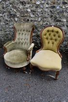 A Victorian button upholstered tub chair; together with a Victorian walnut nursing chair and a