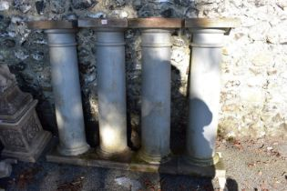 A set of four painted wood pilasters, 103cm high.