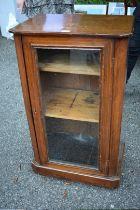 A Victorian walnut and inlaid pier cabinet, 51cm wide x 33.5cm deep x 88cm high.