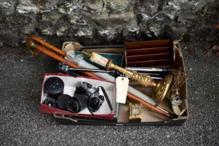 A mixed lot; to include; an Olympus OM10 camera, carriage clock and a giltwood table lamp.