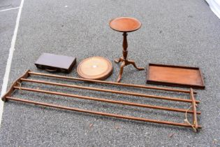 A quantity of wooden items; to include; a tripod wine table and a hanging clothes rail, stamped '