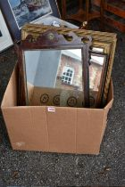 Two gilt wall mirrors; together with a fretwork mirror and one other.