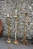 Three various gilt standard lamps.