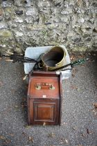 A mahogany coal scuttle; together with a set of fire irons and one other coal scuttle.
