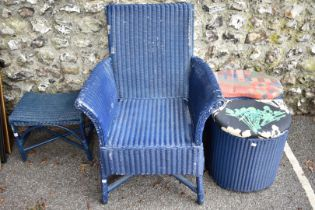 A blue Lloyd Loom chair; together with two similar laundry baskets and a stool.