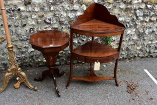 An antique inlaid tripod work table, 44cm wide x 70cm high; together with a mahogany corner