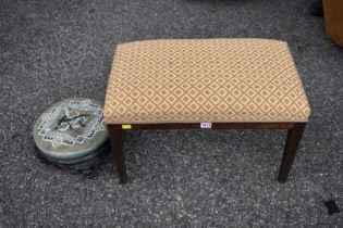 An old mahogany stool; together with another stool having beadwork top.