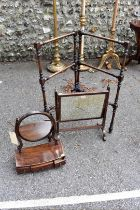 Two antique mahogany toilet mirrors; together with a towel airer.