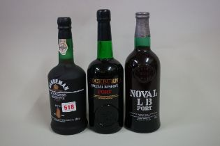 Three bottles of port, comprising: a 75cl Noval LB; a 70cl Cockburn's Special Reserve; and a 70cl