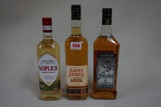 A 70cl bottle of Saint James 'Premium Caribbean' rum; together with a 50cl bottle of Soplica