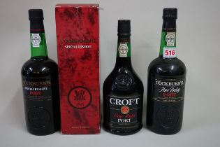 Three various bottles of port, comprising: a 75cl Cockburn's Fine Ruby; a 75cl Cockburn's Special