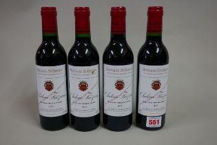 Four 37.5cl bottles of Chateau Faizeau Vieilles Vignes, 1995, Montagne Ste Emilion, (in). (4)