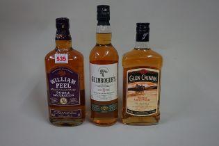 Three 70cl bottles of blended whisky, comprising: William Peel; Glen Crinan; and Glenroger's. (3)
