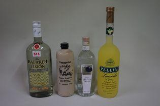 A 1 litre bottle of Bacardi Limon; together with a 1 litre bottle of Pallini Limoncelo liqueur; a
