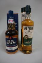 Two 70cl bottles of single malt whisky, comprising: Glen Moray, in card box; and Speyburn 10 year