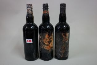 Three bottles of 1940s port, possibly Warre's 1948 vintage,good fill levels. (3)
