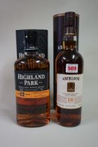 Two 70cl bottles of single malt whisky, comprising: Highland Park 12 year old, in tube; and Aberlour