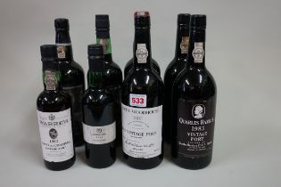 An interesting group of port, comprising:two 75cl bottles of Quarles Harris 1983 vintage, (2in),