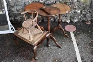 A mahogany wine table;together with an Edwardian wine table, a stool, a miniature chair and one