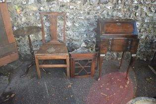 An antique bureau;together with a small hanging corner cupboard, an antique chair and a tripod
