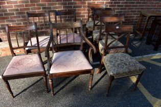 A set of four Regency dining chairs;together with another set of four Regency dining chairs.